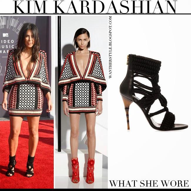 Kim Kardashian In Black Red And White Beaded Cape Mini Dress Balmain Resort 2017 With