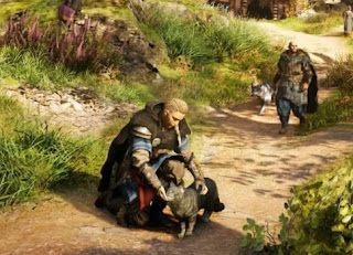 The cat in Assassin's Creed Valhalla can be stroked and held by Eivor