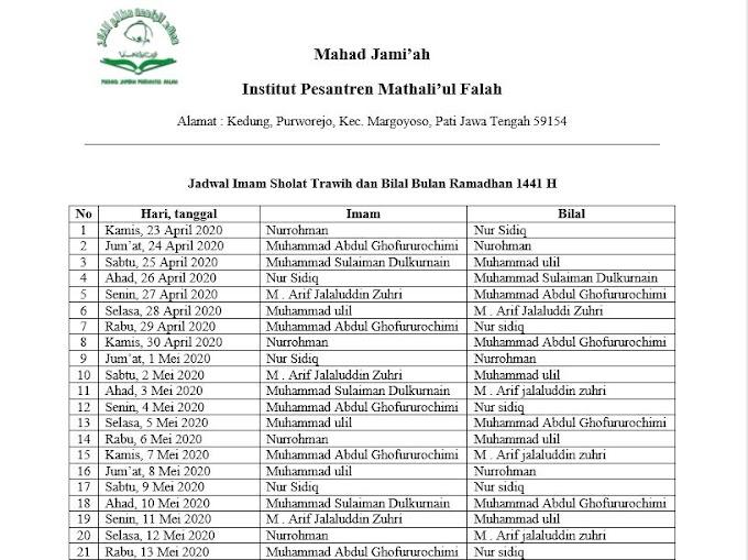Jadwal Imam Sholat Tarawih dan Bilal Bulan Ramadhan 1441 H - Ma'had Jami'ah IPMAFA
