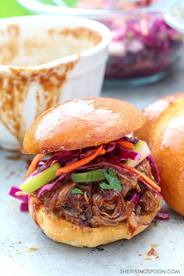 Easy Pulled Pork Sliders with BBQ Sauce & Vinegar Slaw