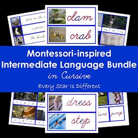 Montessori-inspired Intermediate Language Bundle in Cursive