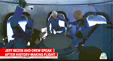 82-year old, Wally Funk, rides along into space with Bezos (Source: NBC News)