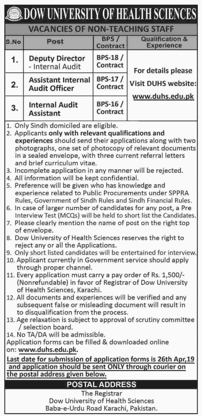 Jobs In Dow University Of Health Sciences 2019