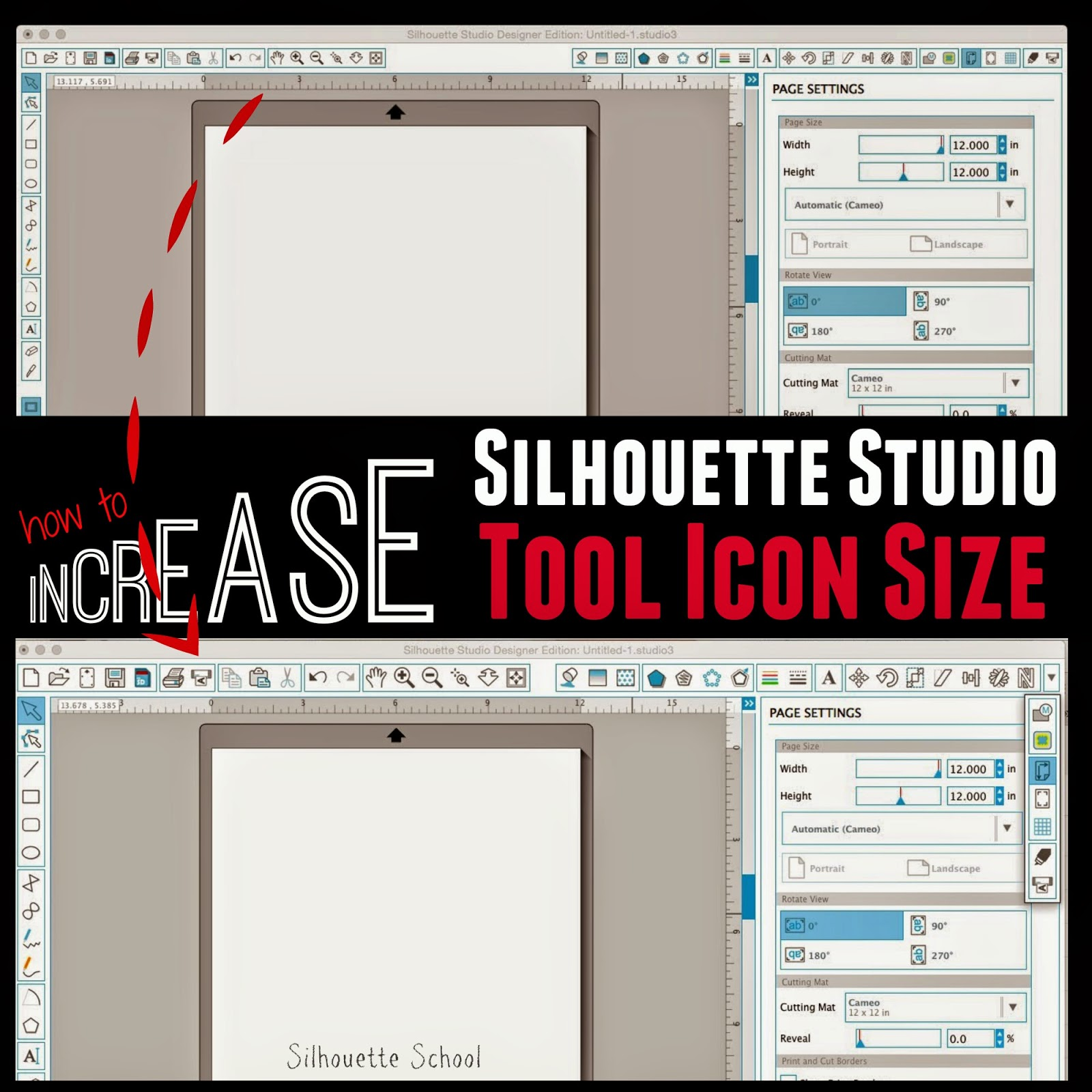 Silhouette Studio, increase tool icon size, Silhouette tutorial