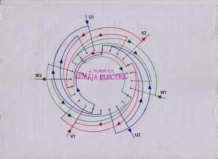 Three Phase Winding Diagram 3000 rpm | Electrical Winding
