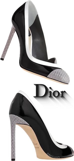 Black Patent Dior Pumps With White & Grey Snakeskin Contrast #brilliantluxury