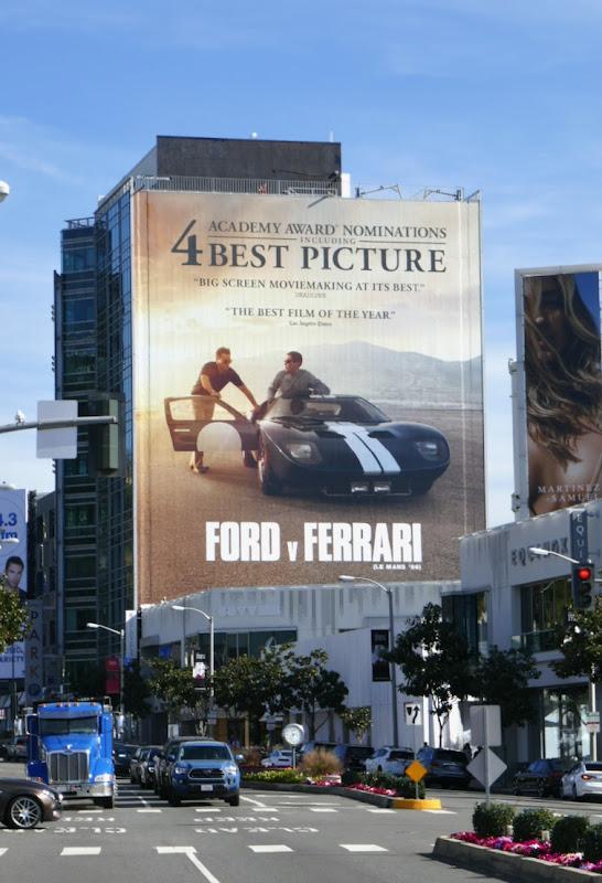 Giant Ford v Ferrari Oscar nominee billboard