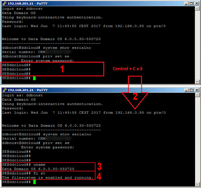 EMC Data Domain: reset sysadmin password - uname