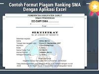 Contoh Format Piagam Ranking SMA Dengan Aplikasi Excel
