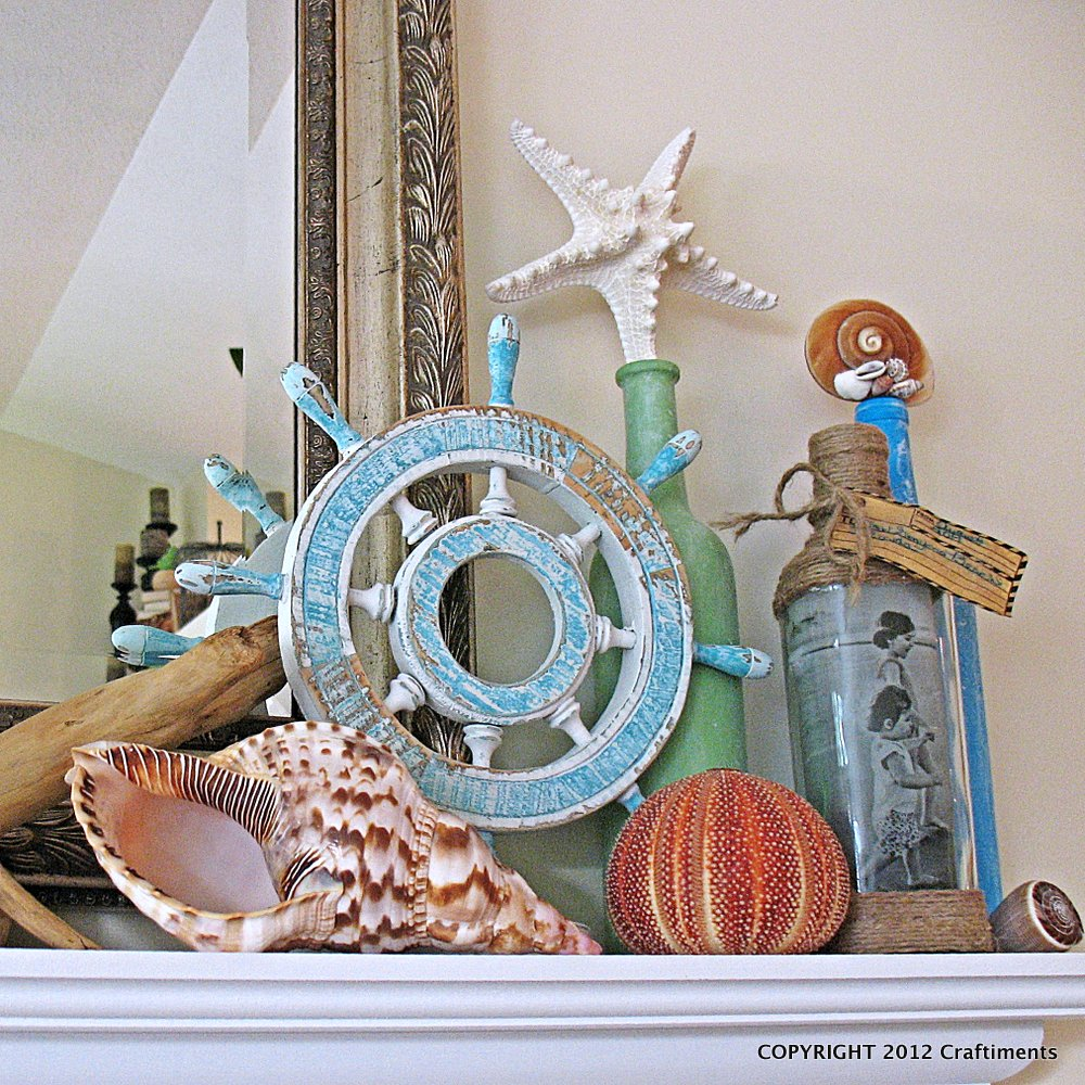 Craftiments: Beach Themed Summer Mantel Reveal - Distressed Wine Signs