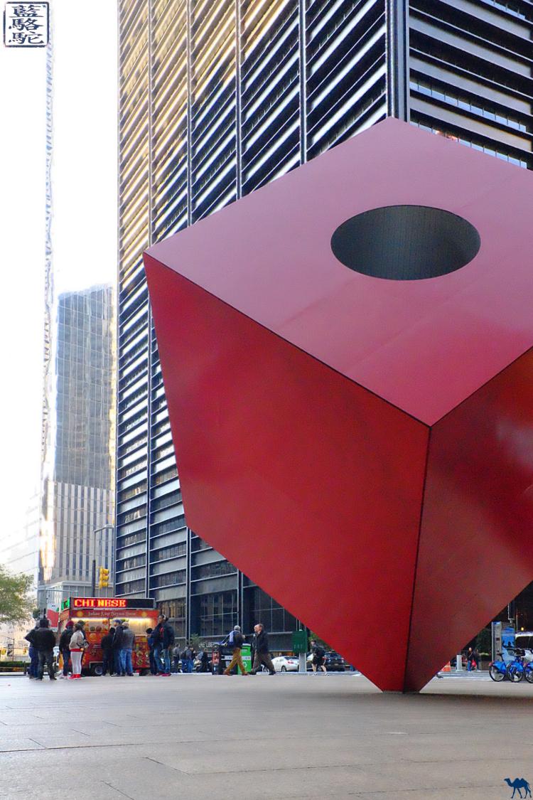 Le Chameau Bleu - Red Cube Sculpture Manhattan New York USA Art