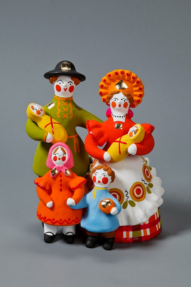 Dymkovo toys, ceramic folk figurines from Russia