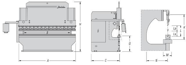 hình ảnh thông số kích thước máy chấn tôn thuỷ lực APH Baykal