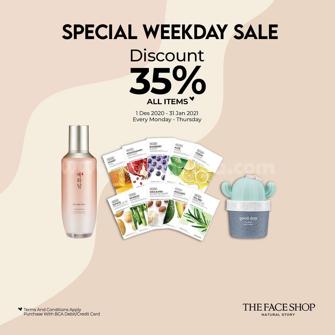 Promo The Face Shop SPECIAL WEEKDAY SALE Disc. 35% All Items