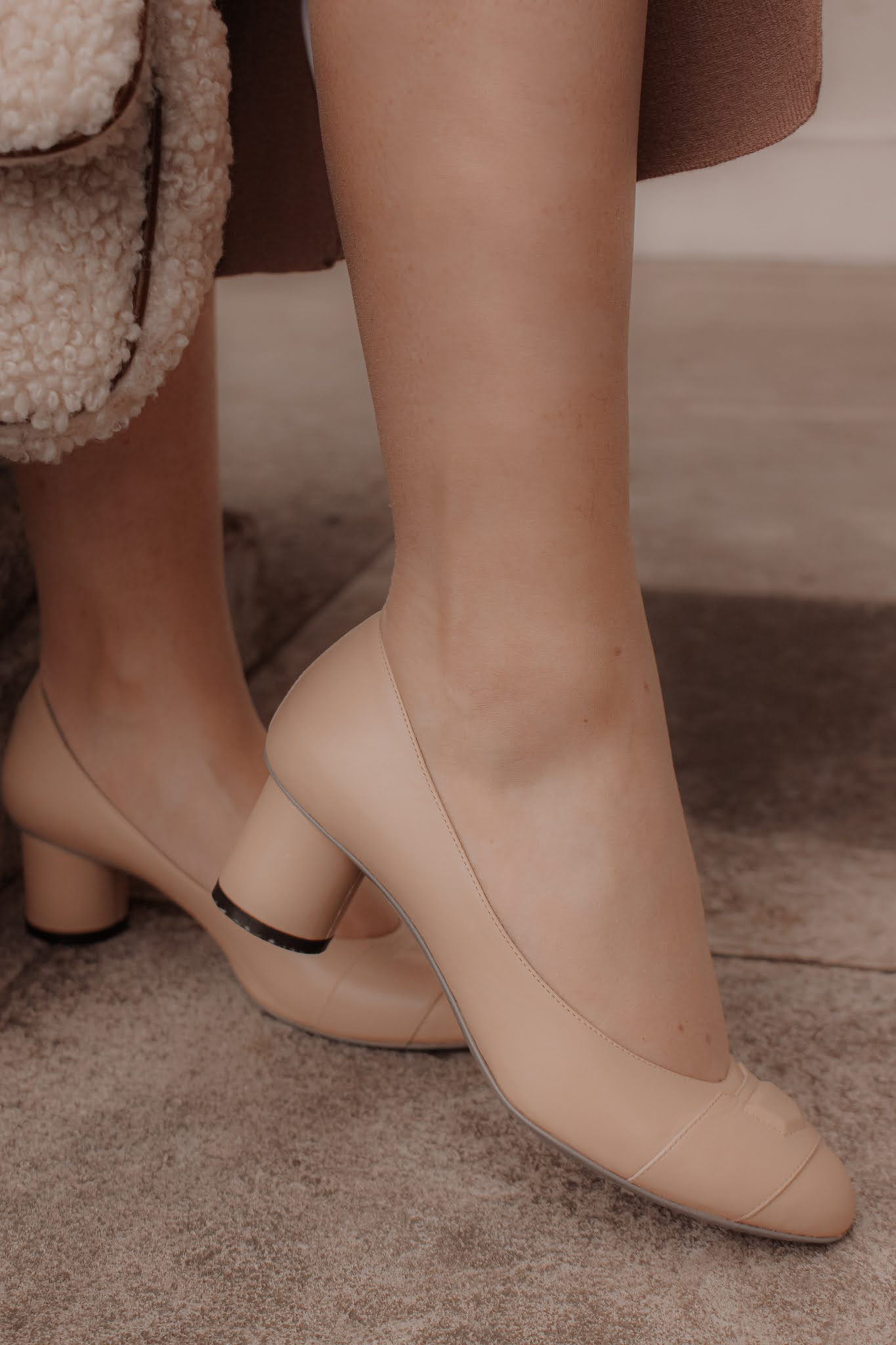 Moses Grace Lusso Nude Low Heel Shoes
