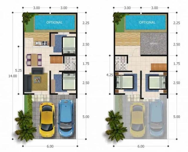 Desain Denah Rumah Minimalis 2 Kamar Type 36 dengan Kolam Renang