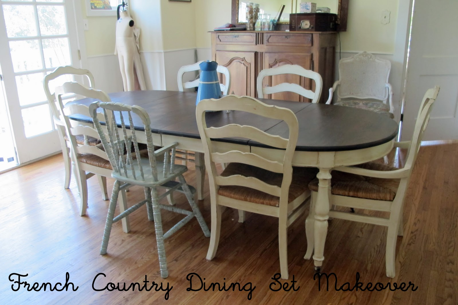 painted tables and chairs swivel chair hardware french country glazed creamy dining set mini