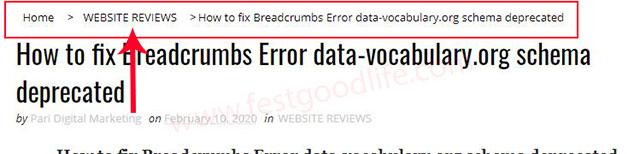 breadcrums error fix in blogger