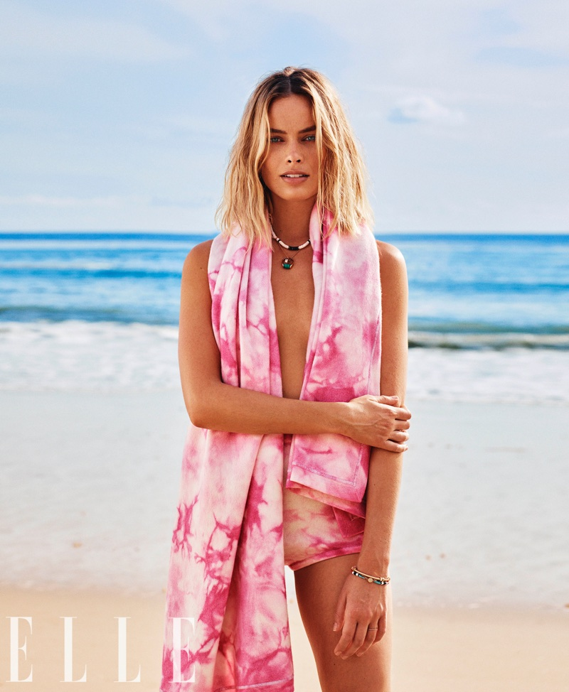 Margot Robbie Poses in Colorful Beach Fashions for ELLE