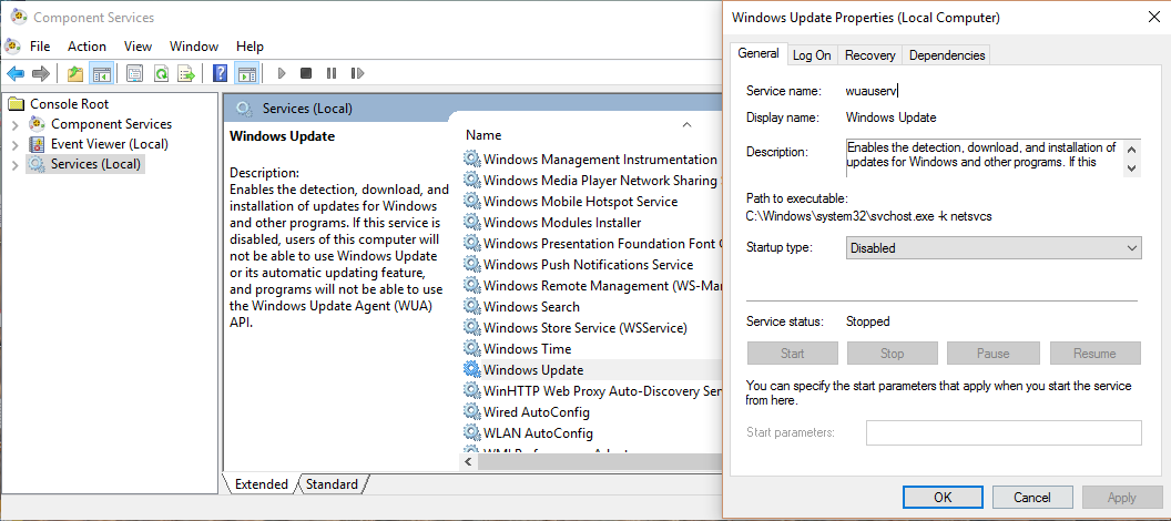 how to Disable Windows Update in Windows 10