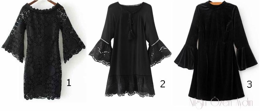 alışveriş-Zaful Siyah Elbiseleri-black bell sleeve dress