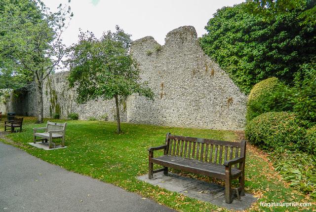 Restos da muralha saxônica de Winchester, Inglaterra