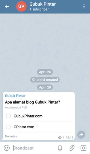 contoh polling di Telegram