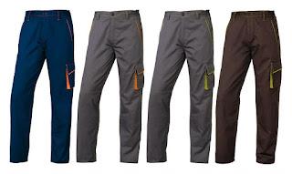 Colores disponibles del Pantalón Uniforme Multibosillos M6PAN PanoStyle. La imagen muestra 4 pantalones, dos grises, uno azul marino y otro marrón