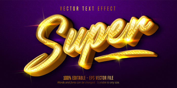 Super Text Shiny Golden Style Editable Text Effect