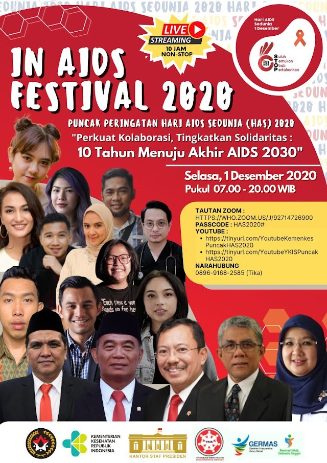 "Peringatan HAS 2020 dengan turut serta dalam Acara Virtual Terbesar di Indonesia yang mengusung tema :    *""Perkuat Kolaborasi, Tingkatkan Solidaritas : 10 Tahun Menuju Akhir AIDS 2030""*"