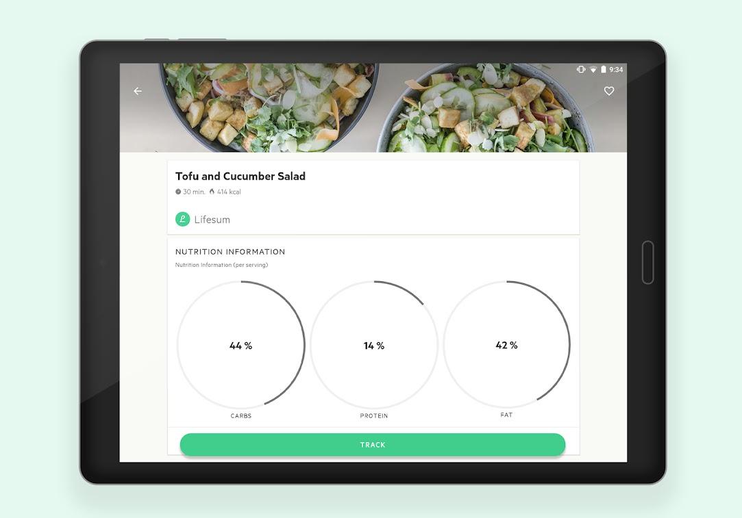 خطة النظام الغذائي ، عداد السعرات الحرارية والوصفات الصحية عن Lifesum