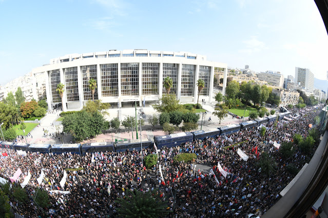 Thousands of people outside the Athens Court of Appeals, waiting for the verdict on Golden Dawn trial. Athens, October 7, 2020.