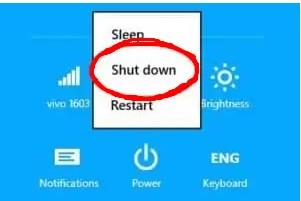 Klik tombol Power dan pilih shut down, setelah mengklik opsi ini sistem komputer dan laptop benar-benar mati.