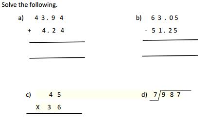 The City School: Grade 4 Mathematics Revision Worksheets