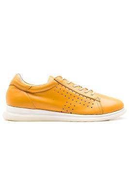 sarı deri günlük bayan ayakkabı