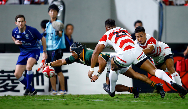 Cheslin Kolbe scores against Japan for the Springboks - Copyright Steve Haag Sports / Hollywoodbets