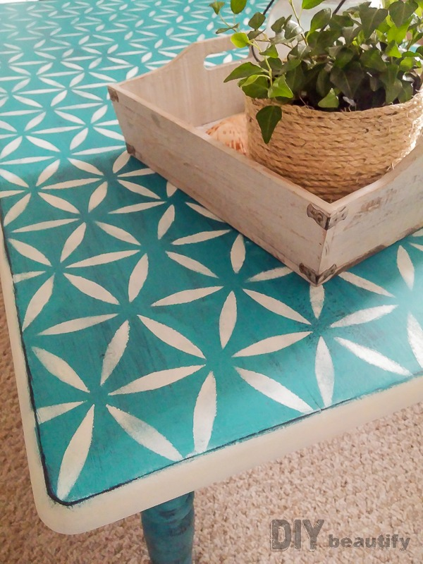 stenciled coffee table rescued with Americana Decor chalky finish paint