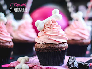Cupcakes d'Halloween vanille chocolat, meringue os