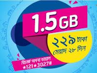GP 1.5 GB Internet data at Tk. 229 validity 28 days