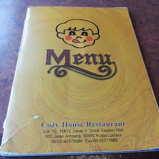 Cozy Restaurant Great Eastern Mall Menu