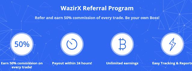 Wazirx App: Refer Friends & Earn 50% Commission + Free 100 WRX Coins