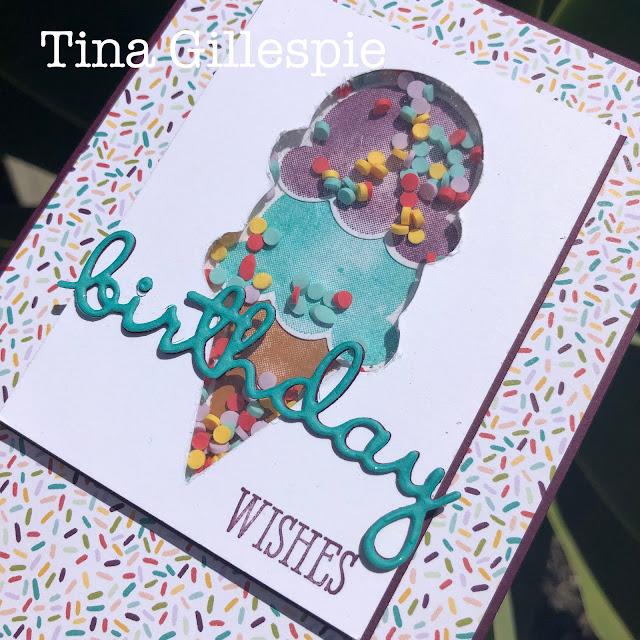 scissorspapercard, Stampin' Up!, Creative Showcase, Sweet Ice Cream, Well Said, Ice Cream Corner DSP, Well Written Dies, Shaker Card