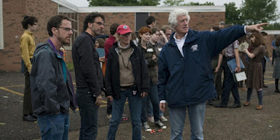 "On the set of ""A Serious Man,"" Ethan Coen, Joel Coen, Betsy Magruder, Roger Deakins from Duane Andersen's blog"