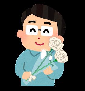 バラの花をもつお父さんのイラスト(父の日・白)