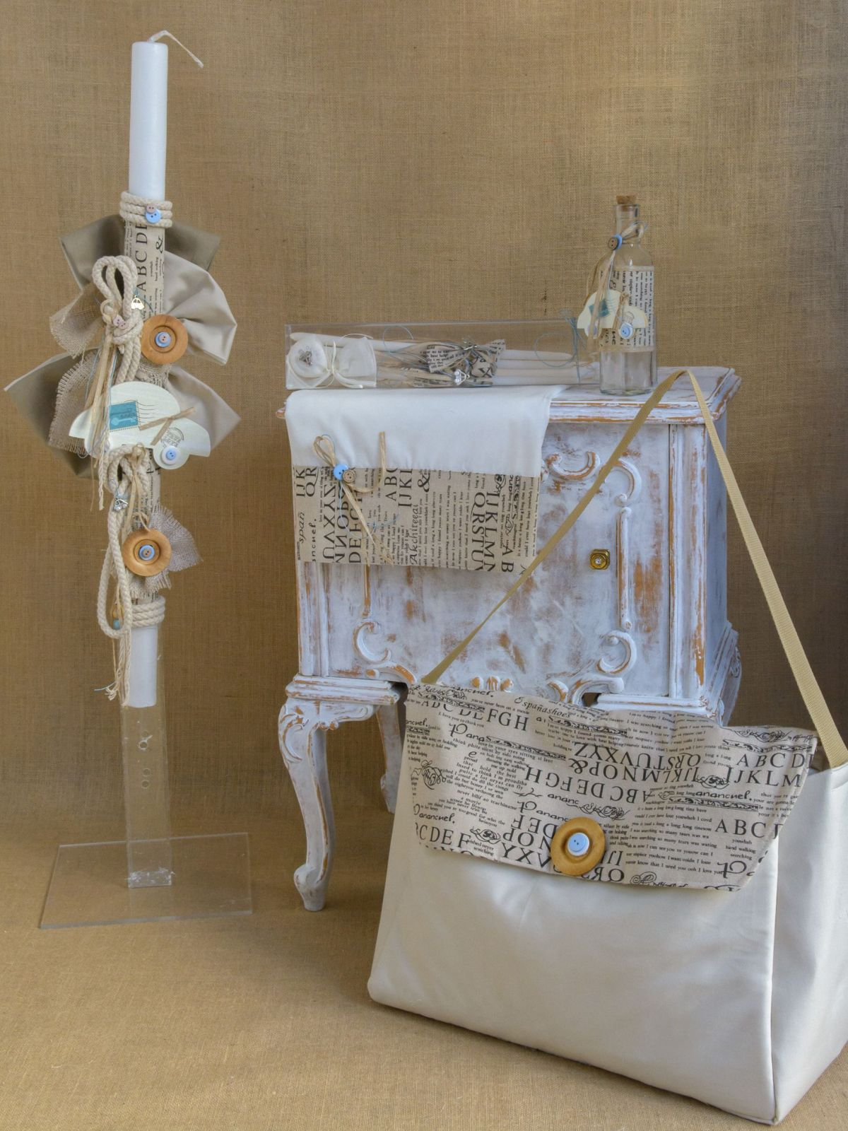 Vintage car themed Greek Baptism lampada set CSB26