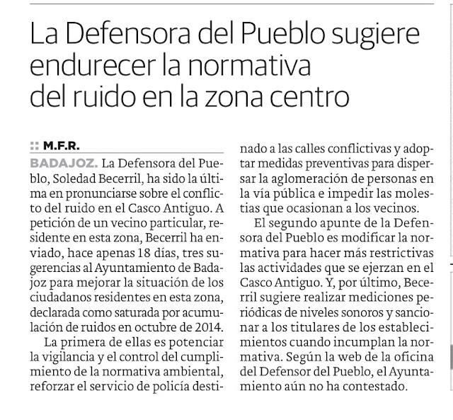 Defensora del Pueblo ruido Casco Antiguo Badajoz