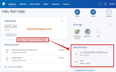 Perbedaan Akun Paypal Terverifikasi dan Tidak Terverifikasi