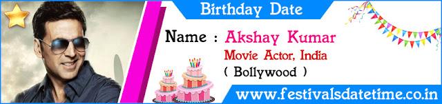 Akshay Kumar Birthday Date
