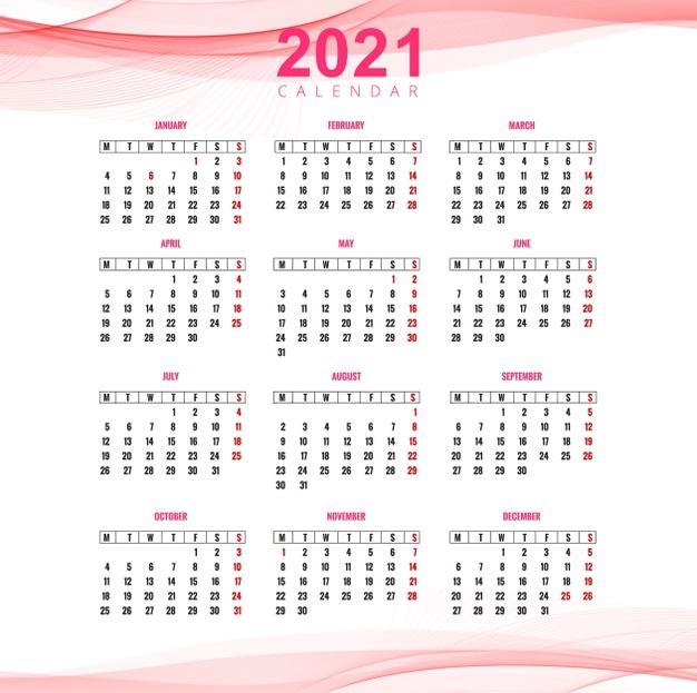 Plantilla de calendario 2021 rosado