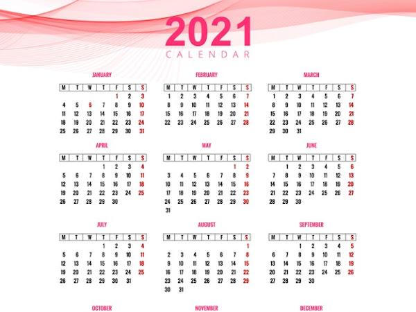 calendario 2021 rosado